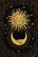 Divine Golden Crescent Moon Pa...