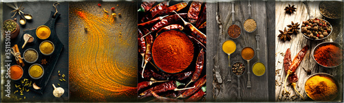 Fotografie, Obraz Spice and herbs background, collage of condiments