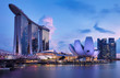 canvas print picture - Singapore skyline at the Marina bay during twilight