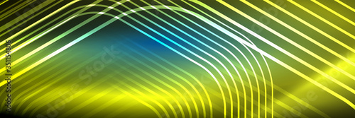 Vászonkép Shiny neon lines, stripes and waves, technology abstract background