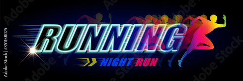 Fototapeta Night run event banner obraz