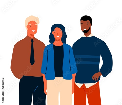 Group of multinational young business people standing together vector flat illustration Canvas Print