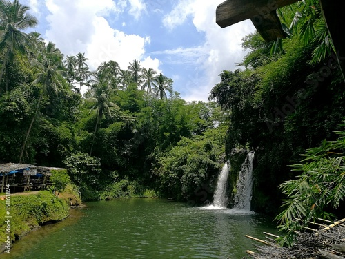 Fototapeta Scenic View Of Bunga Twin Waterfalls