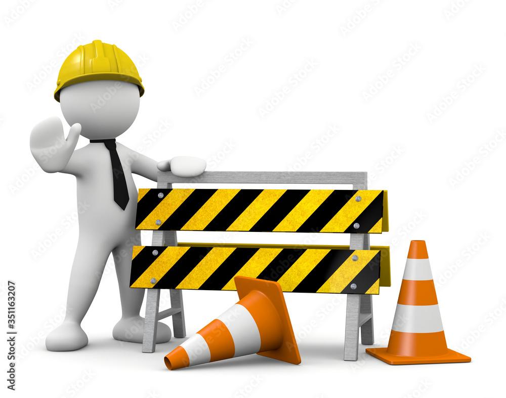 Fototapeta 3d worker man with road barrier
