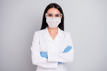 Close-up Portrait Of Her She Nice Attractive Confident Qualified Girl Head Therapist Expert Surgeon Dentist Dentistry Dental Clinic Owner Folded Arms Isolated Over Grey Pastel Color Background