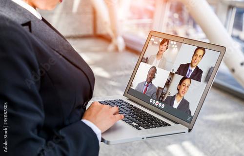 Fototapeta ビデオ会議 obraz na płótnie