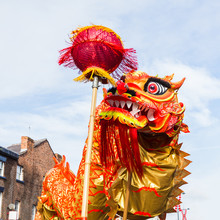 Dragon Dance At Chinese New Year
