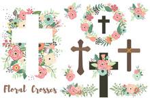 A Vector Of Floral Crosses Elements Set