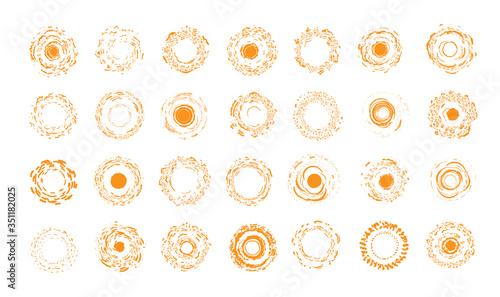 Obraz Summer holidays symbols collection. Brush grange orange round shapes. Unusual sunny sun set of icons. Vector emblem collection. - fototapety do salonu