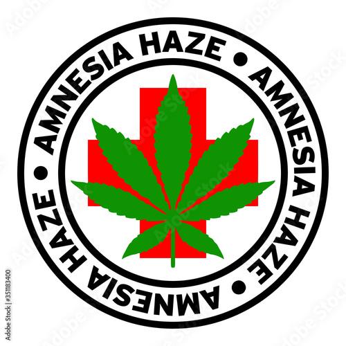Round Amnesia Haze Medical Marijuana Strain Clipart Canvas Print