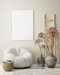 canvas print picture - mock up poster frame in modern interior background, living room, Scandinavian style, 3D render, 3D illustration