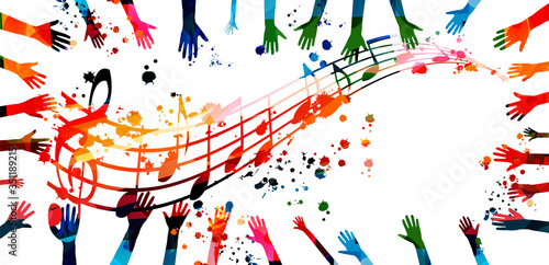 Tableau sur Toile Music background with colorful G-clef, music notes and hands vector illustration design