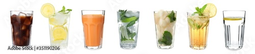 Set of different refreshing drinks on white background. Banner design