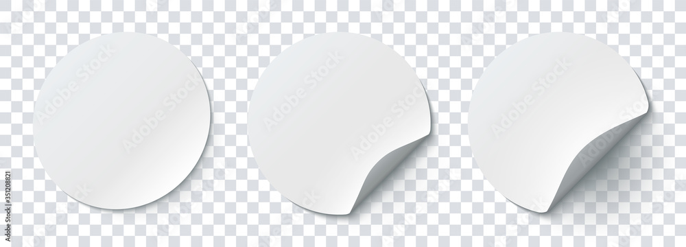 Fototapeta Mockup realistic paper round stickers white colors with curved corner and shadow. White round sticker on a transparent background. Vector illustration EPS10