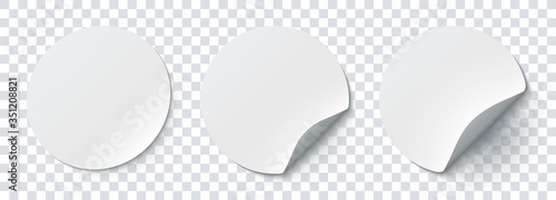 Obraz Mockup realistic paper round stickers white colors with curved corner and shadow. White round sticker on a transparent background. Vector illustration EPS10 - fototapety do salonu