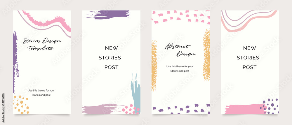 Fototapeta Design backgrounds for social media post and stories. Photo frame template for shop , fashion, blog, web ads. Trendy Memphis design cover. Abstract shape with minimal design. Vector  illustration.