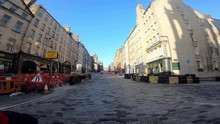4K Shot.  Deserted Royal Mile / Edinburgh High Street, Due To Corona Virus Pandemic.  This Street Is In Edinburgh's Old Town, Normally Busy With Tourists And Shoppers.