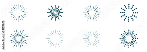 Obraz vector set of sunbeams icons of different shapes - fototapety do salonu