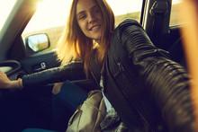 A Girl Making Selfie Portrait ...