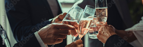 Business people making a toast at an office party фототапет