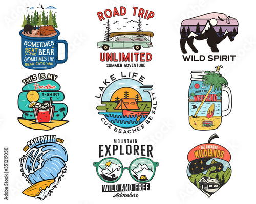 Fotografia Vintage travel logos, vacation patches set