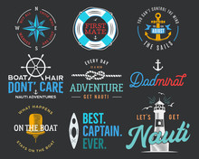 Nautical Vintage Prints Designs Set For T-shirt. Marine Logos And Badges. Retro Typography With Lighthouse And Seagull. Navy Emblem, Sea And Ocean Style Tees Collection. Stock Illustration