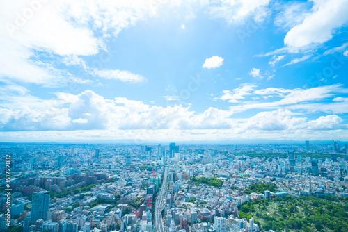 Obraz 東京風景 2019年 初夏 渋谷を中心としたワイドな町並みを望む - fototapety do salonu