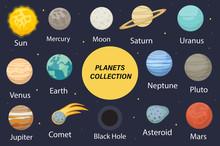 Planet Solar System Icons Flat...