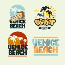 Venice Beach California Summer Time Beach Life Hand Lettering  Vector Illustrations Set Designs.