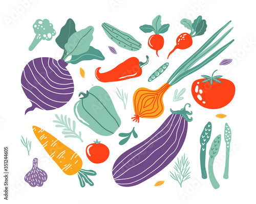 Set with hand drawn colorful doodle vegetables in trendy organic style Fototapet