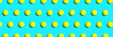 Trendy Pattern Made Of Tennis Ball On Blue Green Mint Background. Sport Tennis Layout. Flat Lay.