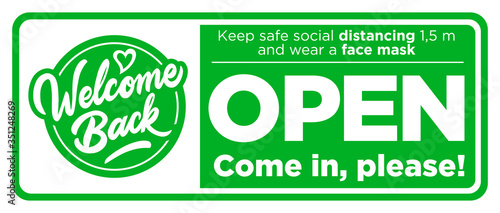 Fotografía Open sign on the front door come in, we're opening again! Keep social distancing and wear face mask