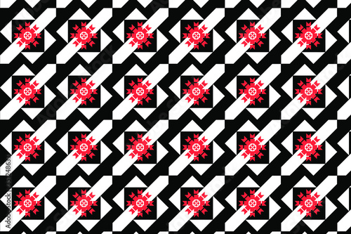 Photo Abstract design of black and white angular shapes with red stars in a repeating