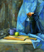 Blue Still Life With A Knife And An Apple, Oil Painting
