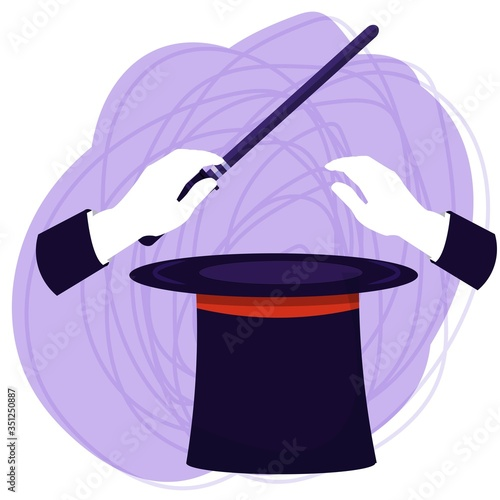 Abracadabra, hands of wizard with stick above magic hat isolated composition on white background stock vector illustration Wallpaper Mural