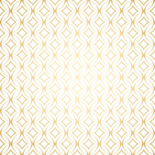 Linear Gold Art Deco Simple Seamless Pattern With Round Shapes, White And Gold Colors