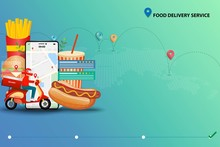 Concept Of Fast Food Delivery Service, Scooter Man In Front Of A Big Fast Food And Smartphone That The Display Contain Map And GPS To Deliver The Food To Customers By Use Application On Mobile.