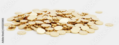 Fotomural Realistic 3D Render of Pile of Coins