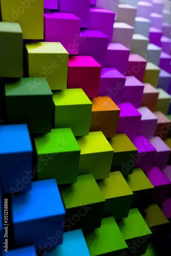 colorful geometric diagonal background, Graphic design concept, vertical. 3D image