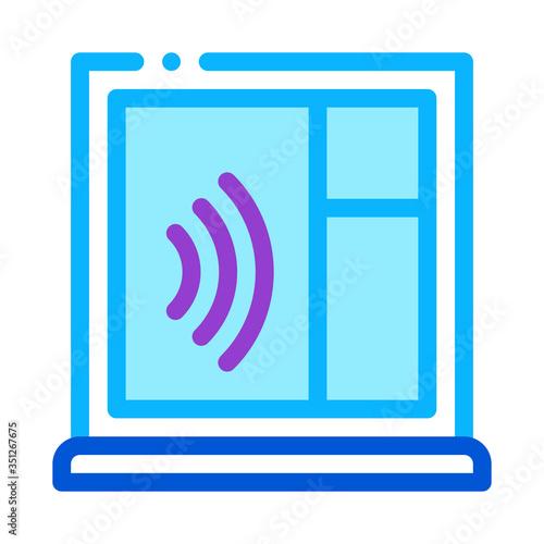 Fényképezés soundproof window icon vector