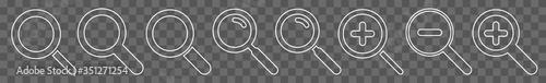 Photo Magnifying Glass Icon White Line | Magnifier Illustration | Zoom Symbol | Loupe