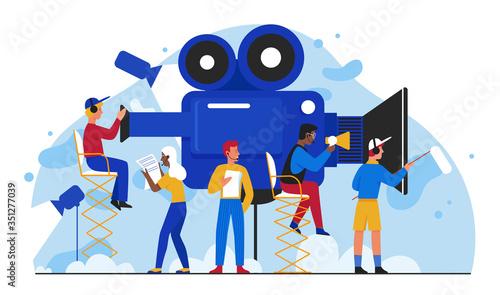 Obraz na plátně Cinema film production vector illustration