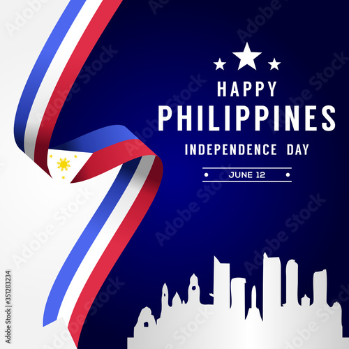 Happy Philippines Independence Day Vector Design Illustration For Celebrate Mome Canvas Print