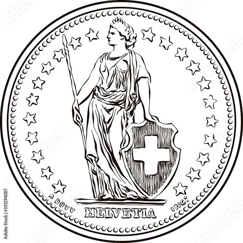 Fényképezés Black and white sketch of Obverse of 1 Swiss franc coin, Helvetia shown standing