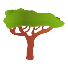 Safari Tree Icon. Cartoon Of S...