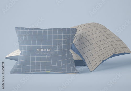 Obraz 3 Square Pillows Mockup  - fototapety do salonu