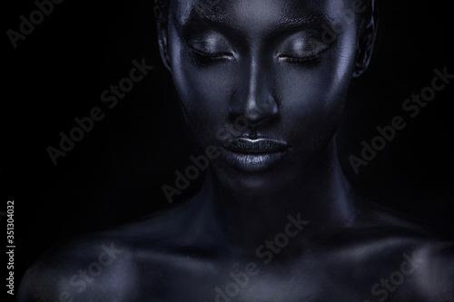 Fototapeta Woman with black body paint