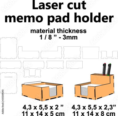 Fotografía Laser cut memo pad holder vector template design