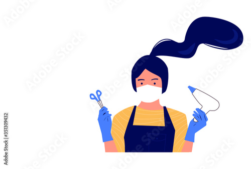 Masked hairdresser in gloves is ready to meet visitors. Opening after quarantine.  Sanitary compliance. Cartoon flat style. Vector illustration. Banner for a beauty salon