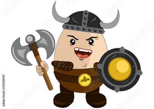 Photo Dibujo animado de un valiente vikingo preparado para el combate con casco, escudo y hacha